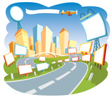 Advertising city, nice template for a web page. poster
