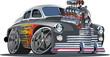 Vector cartoon hot rod (engine full complete).