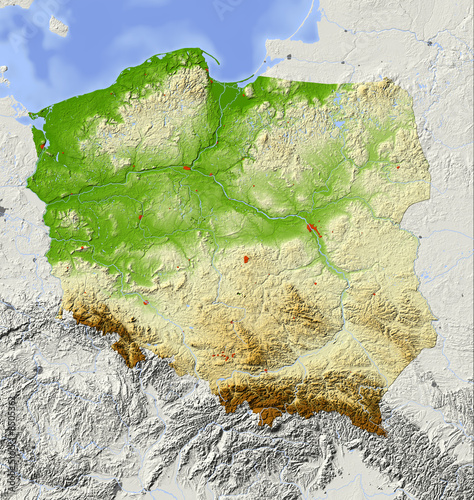 Poland, relief map, colored according to elevation - 8505362