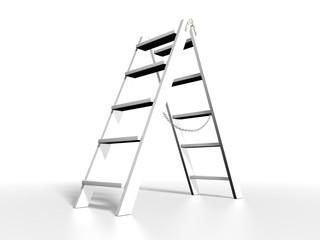 White ladder on white background