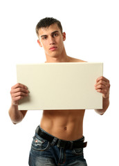 Sexy Man Showing a Copy Space Blank Billboard