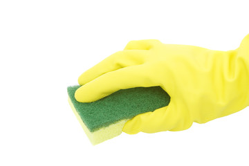 cleaning with sponge