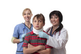 Medical staff spinal care child injury poster
