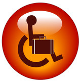 handicap person in wheelchair carrying briefcase poster