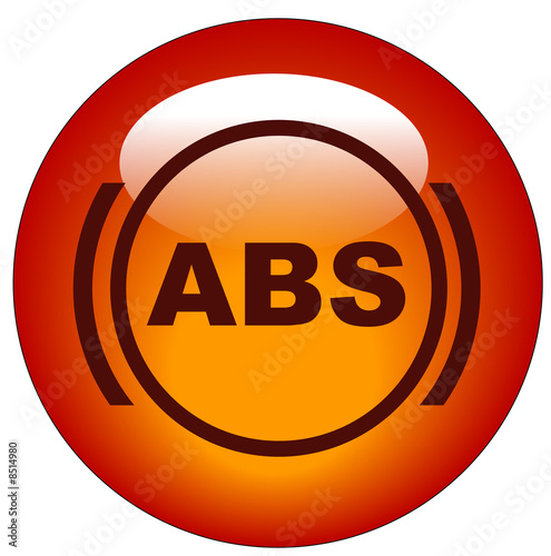 red antilock braking system or ABS symbol web button or icon..