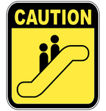 yellow caution sign warning people to be careful on escalator poster