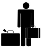 stick man or figure with briefcase and luggage poster