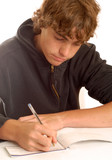 teenage boy writing check or doing financial accounting poster