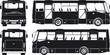 Vector city bus silhouettes set