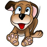 Happy Puppy Dod - colored cartoon illustration
