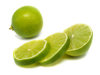 Isolated sliced lime