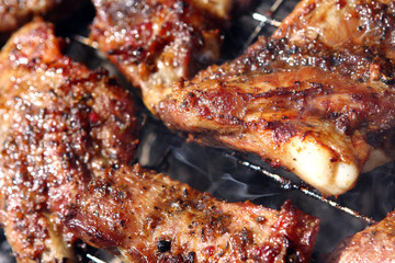 grilled ribs with smoke