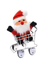 Santa Claus in shopping cart
