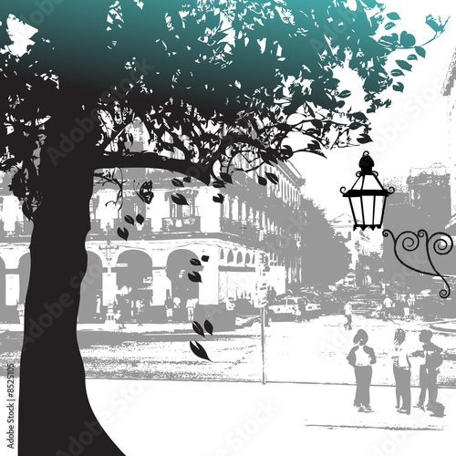 Tree silhouette, street scene © Kudryashka