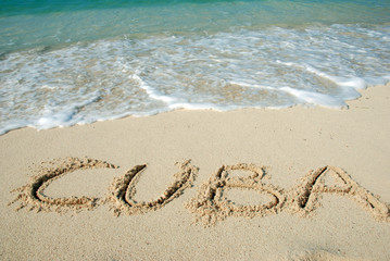 Cuba beach, letters on the sand