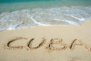 Cuba beach, letters on the sand
