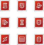 Database icons, red stamp series poster