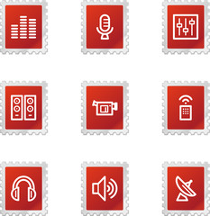 Media icons, red stamp series