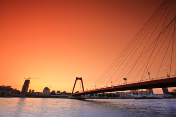 Willemsbridge in Rotterdam at sunset, Holland