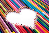 Fototapeta Crayons and the white heart