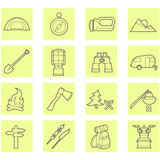 Camping equipment and outdoor travel icons set poster