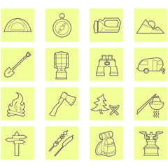 Camping equipment and outdoor travel icons set