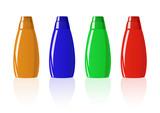 Vector illustration of colored shampoo bottles poster