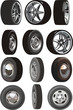 Vector car wheels set