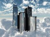 big city on blue sky