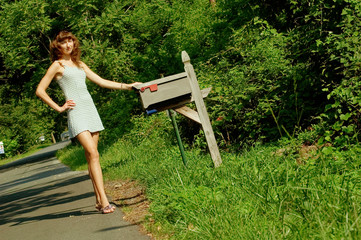 Girl Checking Mail
