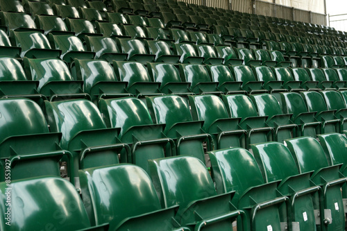 rows of green stadium seating