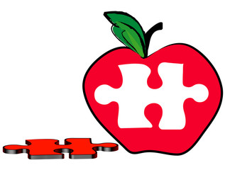 red apple with a piece of the puzzle missing