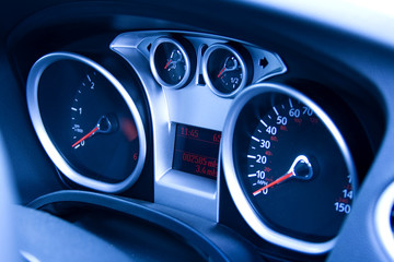 looking at modern car dashboard with tungsten light effect