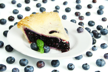 blueberry pie surround by fresh blueberry