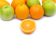 Apple and oranges isolated on the white