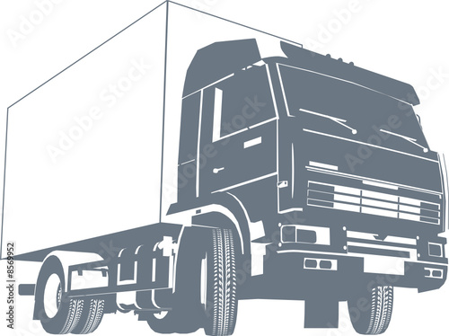Vector detailed truck silhouette.
