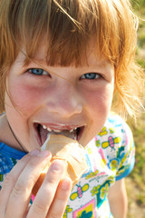 happy girl eating ice-cream