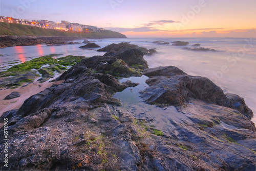 Foto op Canvas Caraïben Sunset by the ocean in Newquay, UK