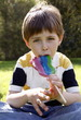 Young boy licking a lollipop