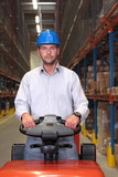 warehouse worker, driving a small forklift in the warehouse. poster