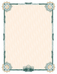 guilloche: classic decorative frame with rosettes and background