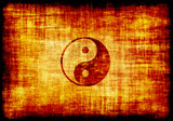 Yin Yang Symbol Engraved on Parchment poster