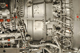 close-up detail of a complex jet engine poster