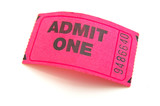 closeup of a pink ticket stub, isolated on white poster