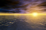 Magic seascape. Ocean sunset. poster