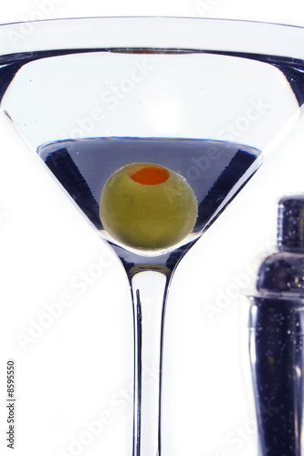 Pimento Olive Submerged in a Martini Coackatil