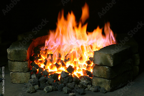 Burning black coal