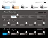 Fototapety Website peel paper buttons bars set template