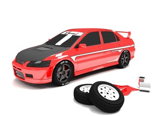 tuning car ,red