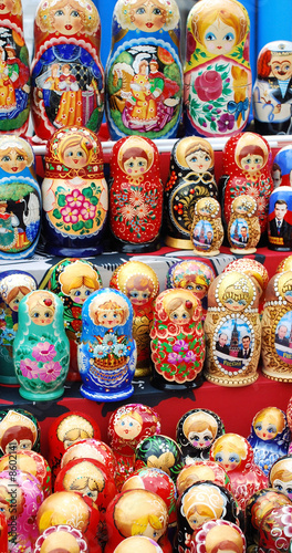 shop window with set of russian dolls of decreasing sizes